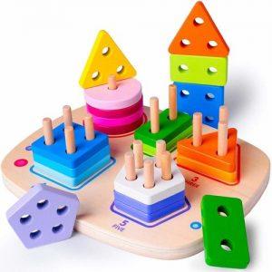 juego de apilar y encajar para niños en madera