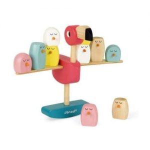 juego de equilibrio de madera pájaros y flamenco Janod