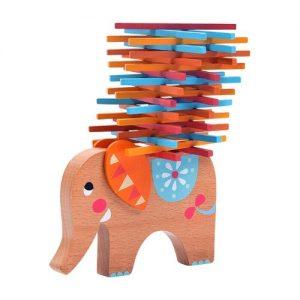 juego de equilibrio con forma de elefante y palillos o stickers en madera de Natureich