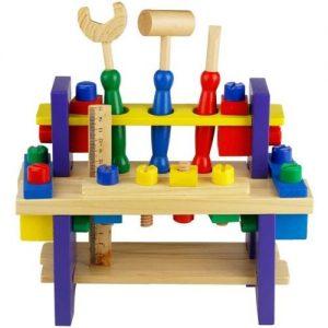 Banco de trabajo de juguete en madera con herramientas de bricolaje