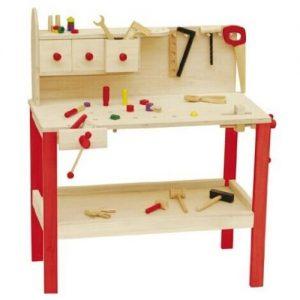 Banco de trabajo de bricolaje infantil en madera con herramientas