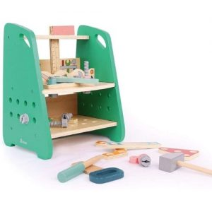 banco de trabajo con herramientas de madera para jugar infantil