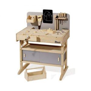 completo banco de trabajo infantil en madera con herramientas de bricolaje de la marca howa
