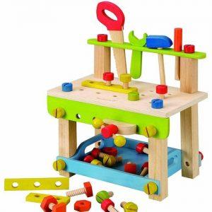 banco de bricolaje de madera infantil con herramientas