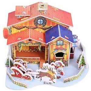 puzzle rompecabezas de madera 3D de Navidad con forma de casa