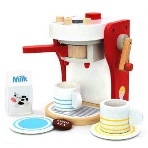 máquina de hacer café roja infantil en madera