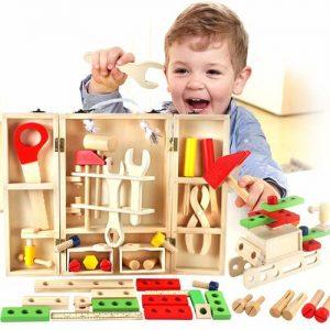 caja de herramientas de bricolaje de madera para niños