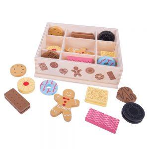 Caja de galletas y dulces de madera para jugar niños