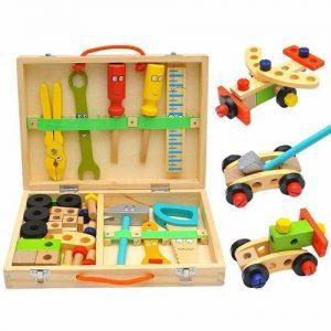 caja de herramientas de bricolaje de madera infantiles