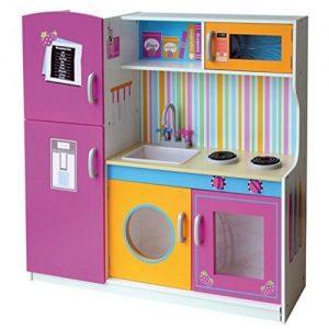 cocina de color lila en madera de juguete grande