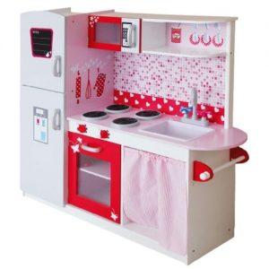 cocina rosa de madera para niñas grande