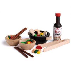 Comida asiática de madera para jugar infantil Erzi