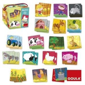 Goula puzzle de memoria granja en madera para niños pequeños