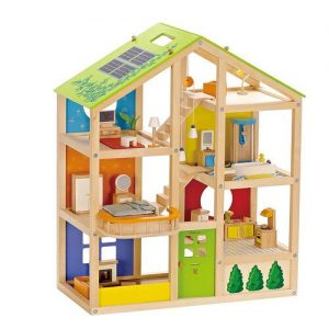 Casa de muñecas Hape en madera de tamaño grande que incluye muebles