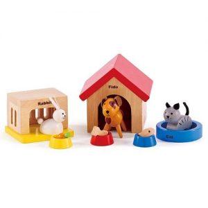 Set de mascotas de madera para jugar Hape