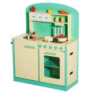 cocina verde de madera para jugar con utensilios Homcom