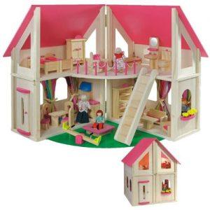 Casa de muñecas de madera rosa con muebles Howa
