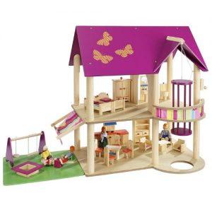 casa de muñecas de madera infantil Howa con tejado lila