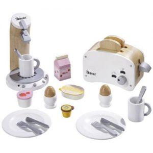 set de desayuno para jugar en madera. Incluye tostadora, cafetera y accesorios de madera