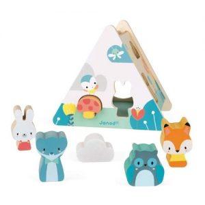 juego de encajar piezas de madera con forma de animales de la marca Janod