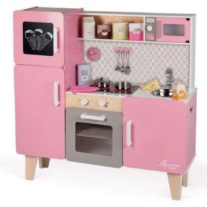 cocina rosa de madera para jugar Janod