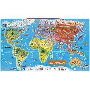 puzzle de madera mapamundi infantil Janod