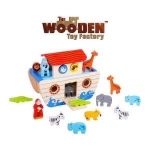 Arca de Noé en madera con figuras de animales
