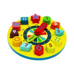 reloj de juguete en madera para niños con piezas de madera de Towo