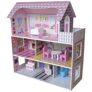Casa de muñecas rosa victoriana en madera infantil Kiddi Style