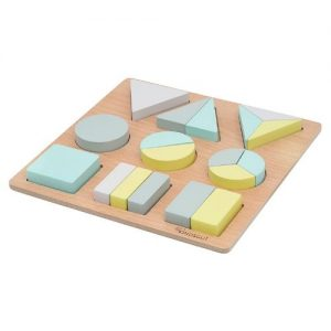 puzzle de formas geométricas de madera kindsgut