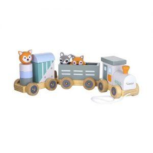 Juguete de arrastre de madera con formas de animales de Kindsgut