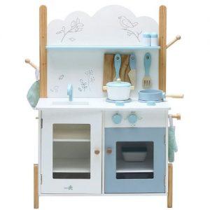 Cocina azul de madera infantil Labebe con accesorios