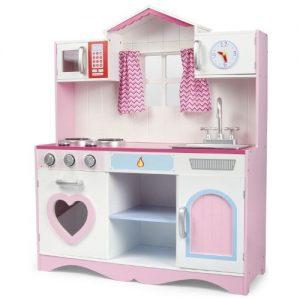 cocina rosa con accesorios en madera infantil Leomark
