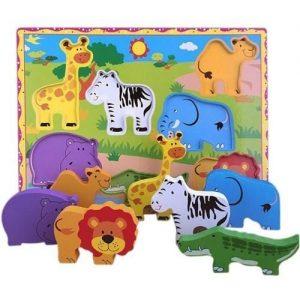 Rompecabezas educativo infantil de madera con piezas de animales