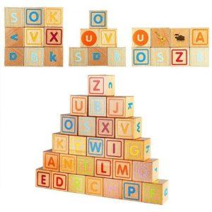 rompecabezas de madera infantil. Bloques de madera Lewo con letras