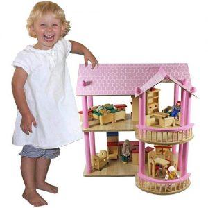 Casa de muñecas rosa grande de madera Lilly