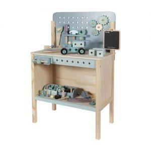 banco de bricolaje con herramientas infantiles en madera de little dutch