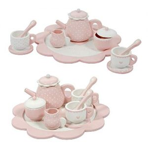 juego de café y té de madera infantil en color rosa Little Dutch
