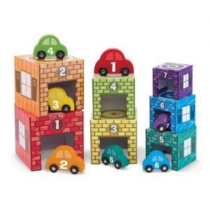 Cubos y coches para apilar en madera para niños Melissa & Doug