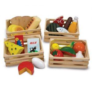 Comida y alimentos de madera infantiles para jugar a las cocinas Melissa & Doug