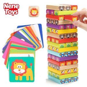 Torre de bloques de madera de colores infantil Nene Toys