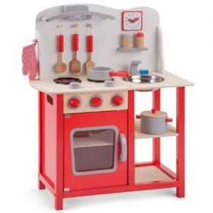 cocina de madera roja infantil de New Classic Toys