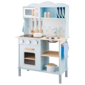 cocina de juguete azul en madera New Classic Toys