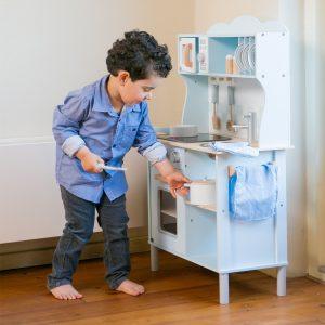 cocina madera infantil para niños pequeños color azul