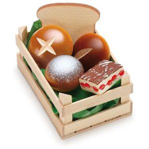comida de juguete en madera Erzi. Caja de madera con pan