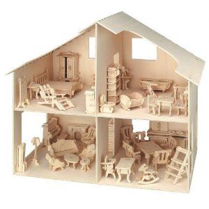 casita de muñecas de madera sin pintar con muebles