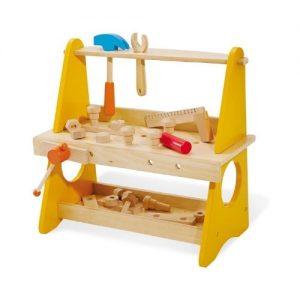 banco de bricolaje para niños en color amarillo con herramientas de Pinolino