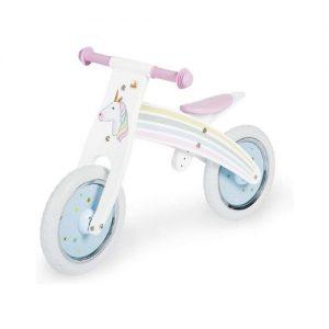 Bicicleta de madera de la marca Pinolino con dibujo de unicornio