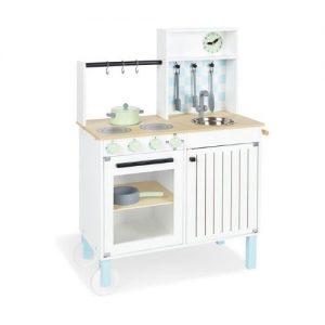 cocina blanca y azul de madera infantil de la marca pinolino
