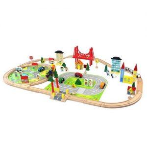 Ciudad de juguete en madera con pistas, edificios y accesorios